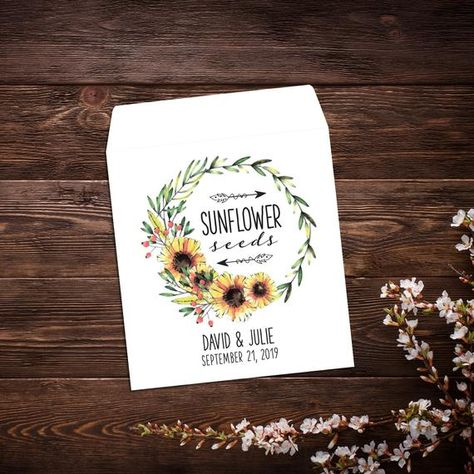 Wedding Seed Packets, Sunflower Seed Packets, #seedfavor #seedpackets #custom #weddingfavor #personalizedfavor #seedpacketfavor #letlovegrowfavor #seedweddingfavor #bridalshowerfavor #seedenvelopes #customseedpackets #sunflowerseeds #sunflowerfavor