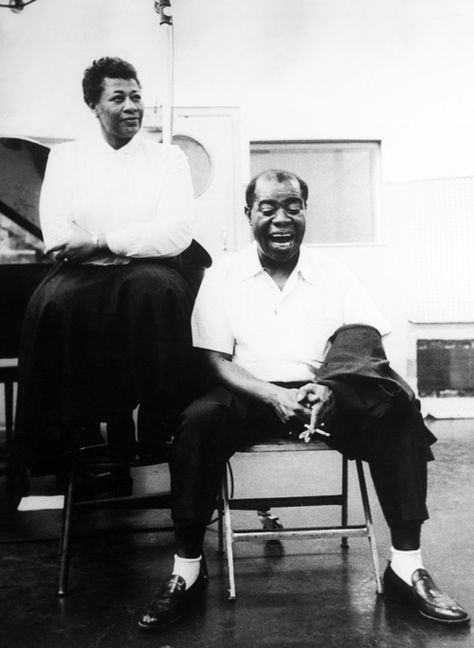 Ella Fitzgerald and Louis Armstrong, in the studio, 1956.