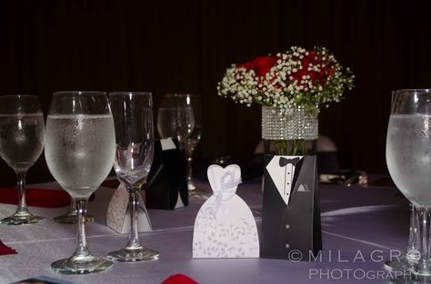 Table setting for engagement party. We used the colors red, black ...