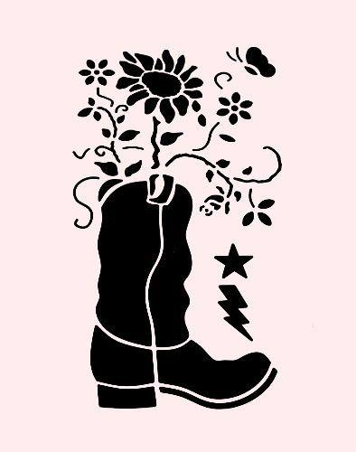 COWBOY BOOT STENCIL SUNFLOWER FLOWERS SOUTHWESTERN WESTERN STENCILS TEMPLATE NEW