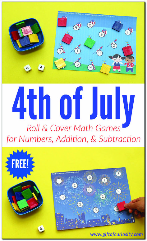 4th of July Roll  Cover Math Games for number recognition, addition, and subtraction practice. #4thofJuly #independenceday #math #giftofcuriosity || Gift of Curiosity