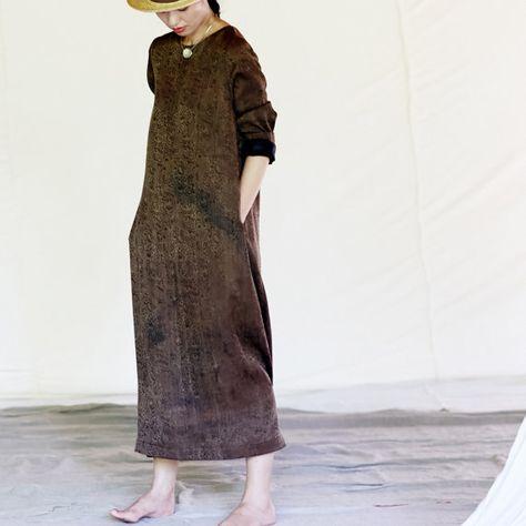 Vestido maxi de seda marrón BonLife por BonLife en Etsy