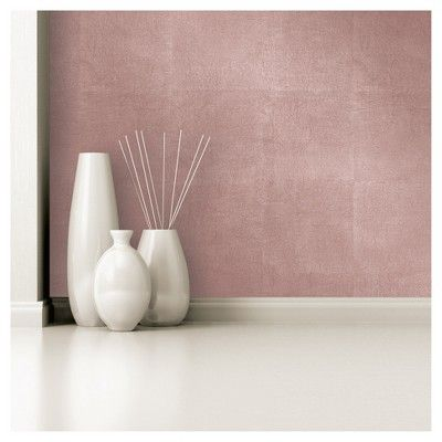 Metallic Leaf Peel Stick Wallpaper Pink Project 62 In 2021 Rose Gold Painting Peel And Stick Wallpaper Gold Accent Wall