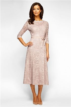 Romantic Champagne Tea Length Mother of the Bride Dresses ...