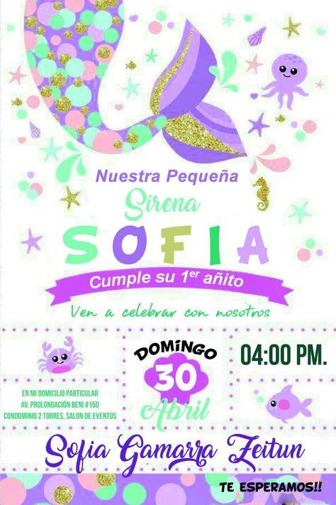 Invitación De Sirena Cumpleaños De Sirena Fiestas De