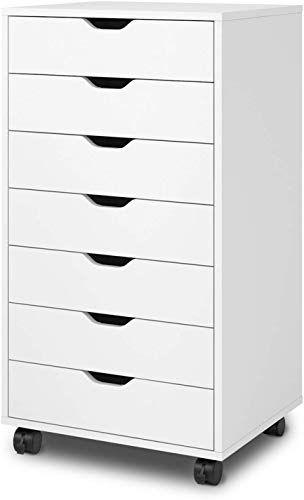 Amazing Offer On Devaise 7 Drawer Chest Wood Storage Dresser Cabinet Wheels White Online Goodlucktou In 2020 Wood Storage Dresser Storage Steel Storage Cabinets