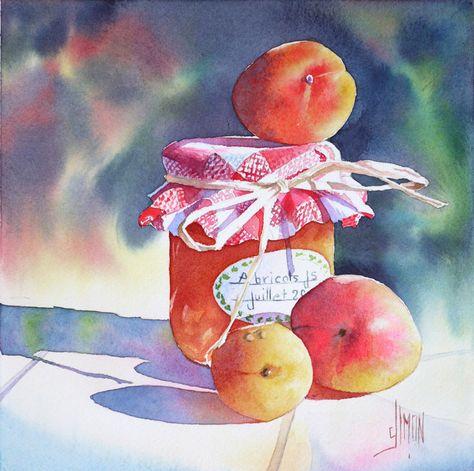Le Pot D Abricot Joel Simon Peinture Fleurs Peinture De