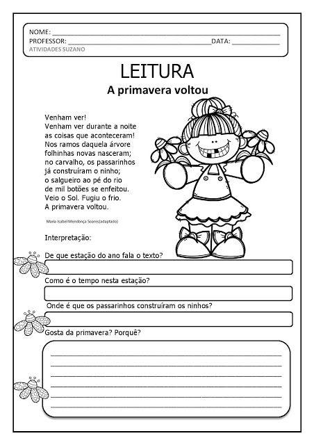 Leitura E Interpretacao Primavera Atividades Pedagogica Suzano