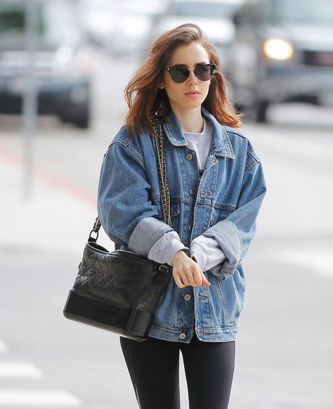 4ac21534c2d23d Just Can't Get Enough: Lily Collins and Her Chanel Gabrielle Bag