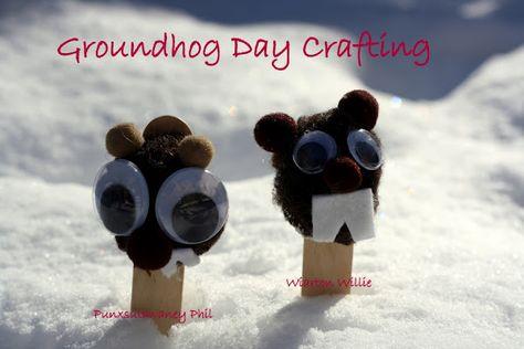 Pom Pom Groundhog Crafts.