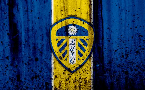 Download imagens 4k, O Leeds United FC, grunge, EFL Campeonato, arte, futebol, clube de futebol, Inglaterra, O Leeds United, logo, textura de pedra