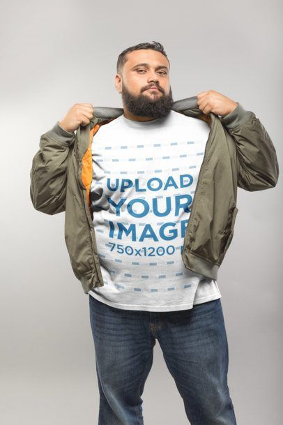 Download Click To Use This Template Plus Size T Shirt Mockup Of A Man Putting On A Bomber Jacket A20814 Mockup Mockupde Plus Size T Shirts Shirt Mockup Bomber Jacket