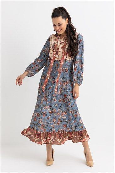 Iki Renk Cicekli Elbise Krem Midi Elbise The Dress Cicekli Elbise