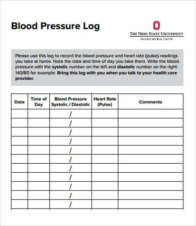 photograph regarding Printable Blood Pressure Log titled Printable Blood Anxiety And Pulse Log - 30+ Printable Blood