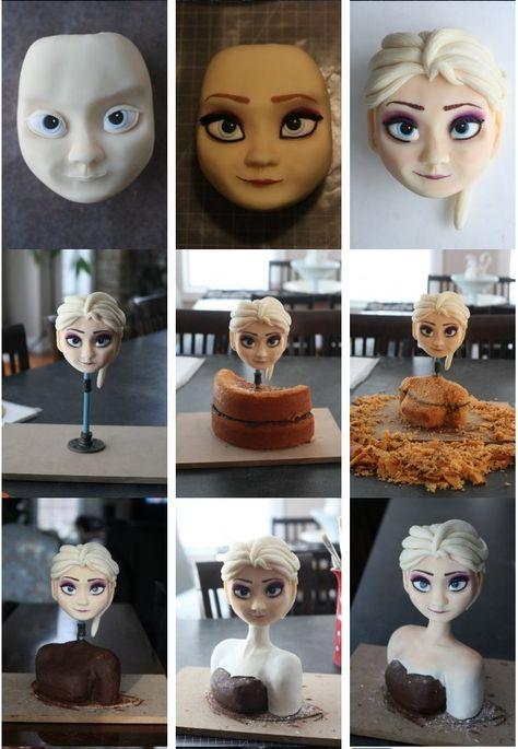 Disney Frozen Elsa cake step-by-step
