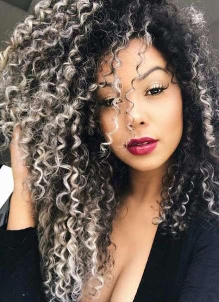 Super Nails Ombre Grey White Ideas Ombre Curly Hair Curly Hair Styles Dyed Curly Hair