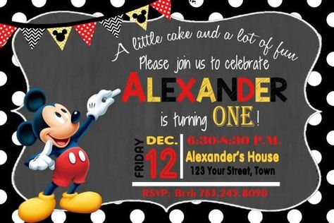 Mickey Mouse Invitation Birthday Invite Party 20
