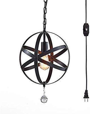 Plug In Pendant Light Industrial Style Globe Pendant Lighting 16 4 Ft Hanging Cord Dimmable On O Plug In Pendant Light Black Chandelier Warehouse Of Tiffany