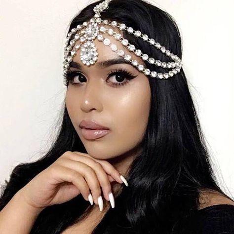 penelope silver gold rhinestone jewels wedding goddess hair chain