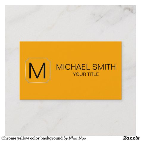 Chrome Yellow Color Background Business Card Zazzle Com Chrome
