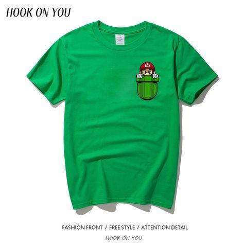 Men Tshirt Funny Super Mario Inside Your Pocket T Shirt Summer Brand  Clothing Fashion Creative T-shirt Men Short Sleeve Tees 4b7f4168a066