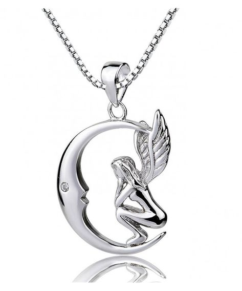 """925 STERLING silver 18/"""" chain necklace FAIRY ANGEL CHARM DAINTY women free box"""
