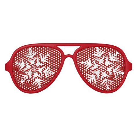 91e3d41b4b4 Snowflakes on Red Aviator Sunglasses in 2018