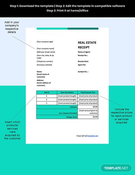 Sample Real Estate Receipt Template Free Pdf Word Excel Apple Pages Google Docs Google Sheets Apple Numbers Receipt Template Templates Document Templates