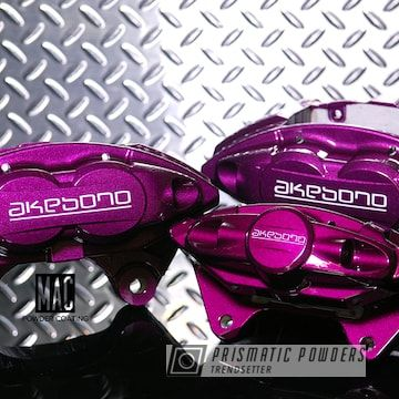Prismatic Powders Powder Coated Purple Akebono Brake Calipers Brake Calipers Calipers Powder Coating