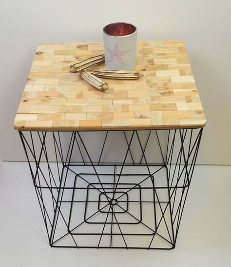 Cooler Beistelltisch Couchtisch Drahtkorb Eckig Metall Abnehmbarer Holzplatte Beistelltisch Drahtkorb Holzplatte Design Tisch