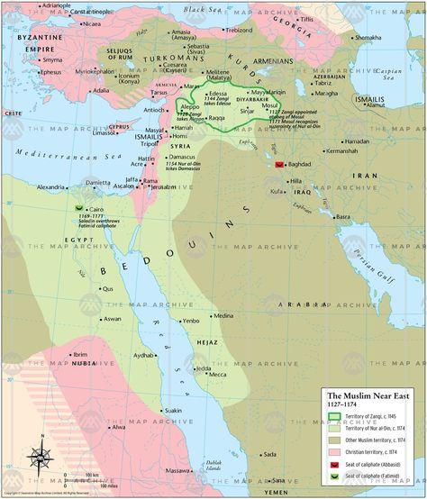 The Muslim Near East 1127 1174 Map Thumbnail Kartta Historia