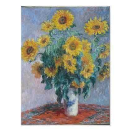 Vintage painting art claude monet artwork sunflowers  poster canvas framed
