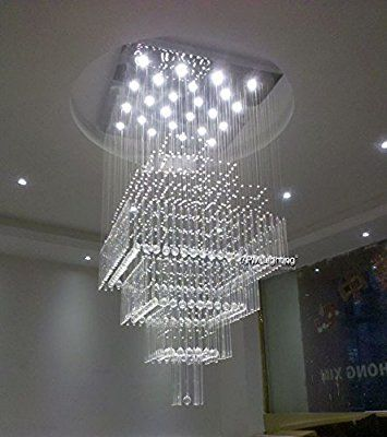 7pm W24 X H55 Modern Contemporary Crystal Chandelier Luxury Square Rain Drop Contemporary Crystal Chandelier Modern Crystal Chandelier Pendant Light Fixtures