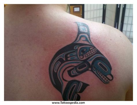 Native American style orca by Lewis Hess at Atlas Tattoo in Portland, OR