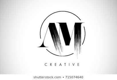 Am Brush Stroke Letter Logo Design Black Paint Logo Leters Icon