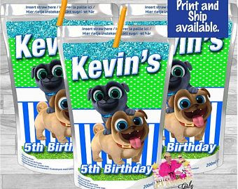Puppy Dog Pals Capri Sun Label Puppy Dog Pals Juice Birthday Party Favor Puppy Dog Pals Decor Puppy Birthday Parties Boy Birthday Parties 2nd Birthday Parties