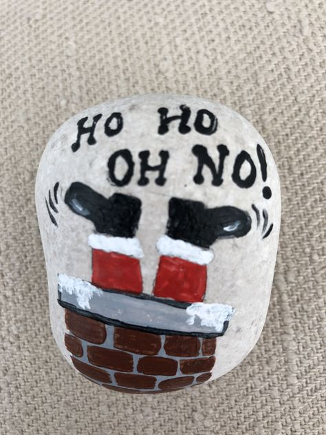 Painted Rock:  Ho Ho Oh No! #felsenundsteine Painted Rock:  Ho Ho Oh No!