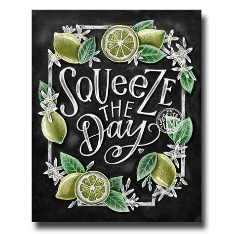 Lemon Decor, Kitchen Art, Lemon Print, Spring Art, Chalk Art, Squeeze The Day, Chalkboard Art, Lemon Art, Spring Decor, Kitchen Wall Decor