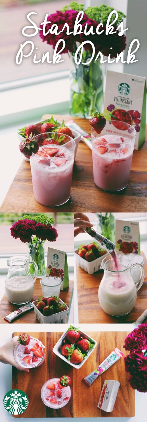 Pink Drink Recipe: In a pitcher or 24oz jar, add 16 oz coconut milk from a carton, 1 packet of Very Berry Hibiscus Starbucks Refreshers, and 1/3 cup cold water. Mix together until everything is combined. Add fresh, sliced strawberries. Fill two glasses with ice, and pour the mixture on top. Enjoy!