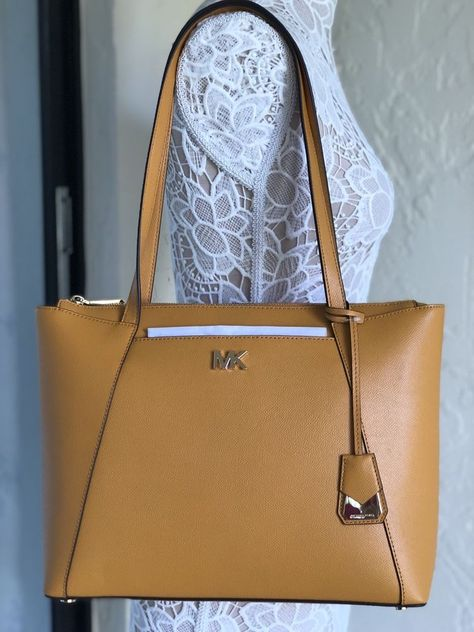 d1a3a3a8443cd6 Michael Kors Maddie Medium EW TZ Leather Tote Marigold | eBay