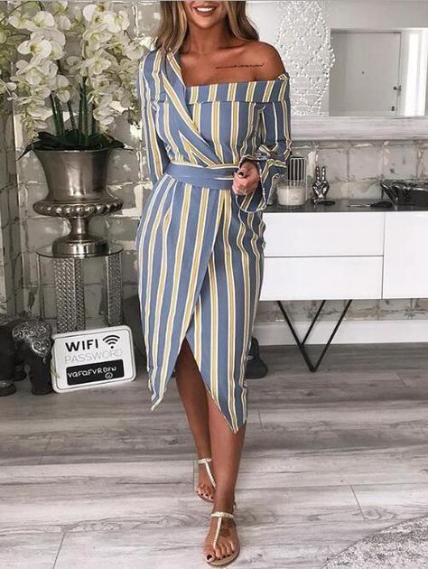 Striped Irregular One Shoulder Shirt Dress - Herren- und Damenmode - Kleidung
