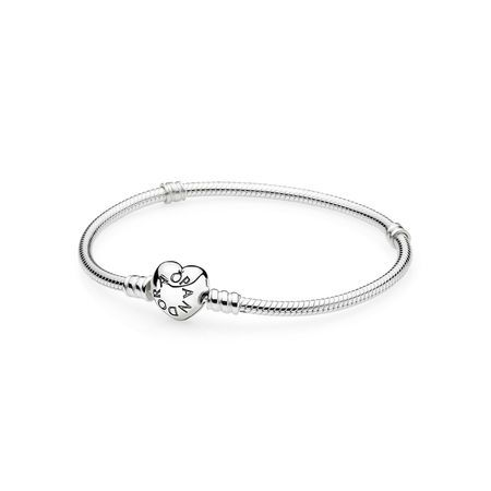 Silver Charm Bracelet With Heart Clasp In 2021 Pandora Bracelets Pandora Bracelet Silver Sterling Silver Bracelets