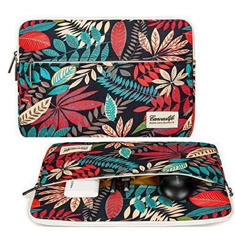 Colorful Florals Leaves Laptop Sleeve Case 13 13.3 Inch Briefcase Cover Protective Notebook Laptop Bag