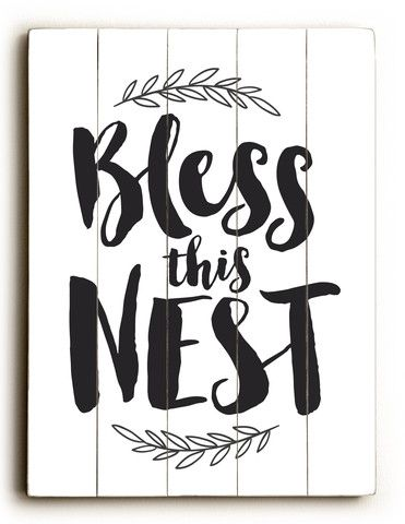 Bless This Nest Planked Wood Sign