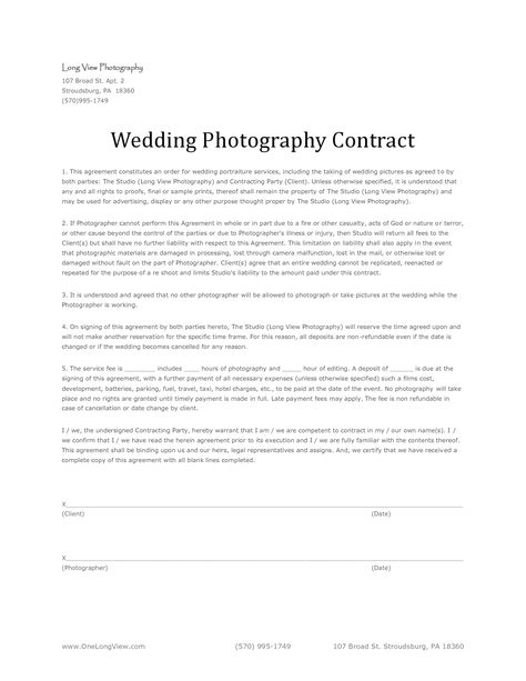 Discover what you should include in your professional wedding - photography contract template