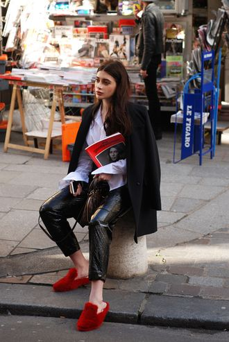 Cool Alternative Slipper Style Fur Bright Red Slip On Shoes With Leather Pants And Cute Pale Blue Blouse Fashion Week Street Style Trends