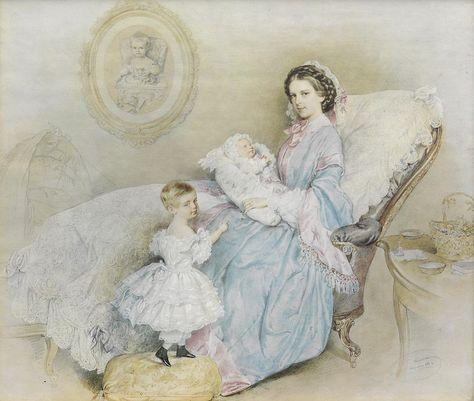 Josef Kriehuber Kaiserin Elisabeth mit ihren Kindern 1858 - Rodolphe d'Autriche — Wikipédia