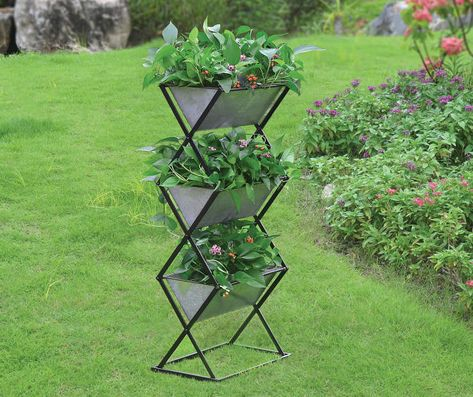 Galvanized Metal 3 Tier Planter With Stand Tiered Planter Planters Planter Stand