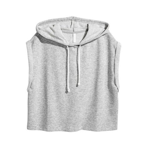 Gray Brief Loose Hooded Cropped Top ($9) ❤ liked on Polyvore featuring tops, grey crop top, loose fitting tops, loose fitting crop top, cropped tops and cut loose tops