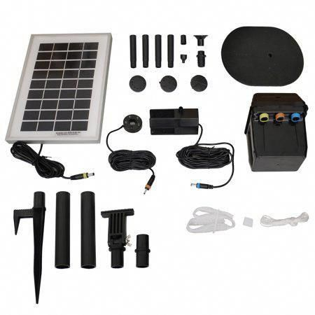 Sunnydaze Solar Water Fountain Pump And Solar Panel Kit With Battery Pack Led Light 79 Gph 47 Inch Lif Solar Panel Kits Water Fountain Pumps Solar Fountain